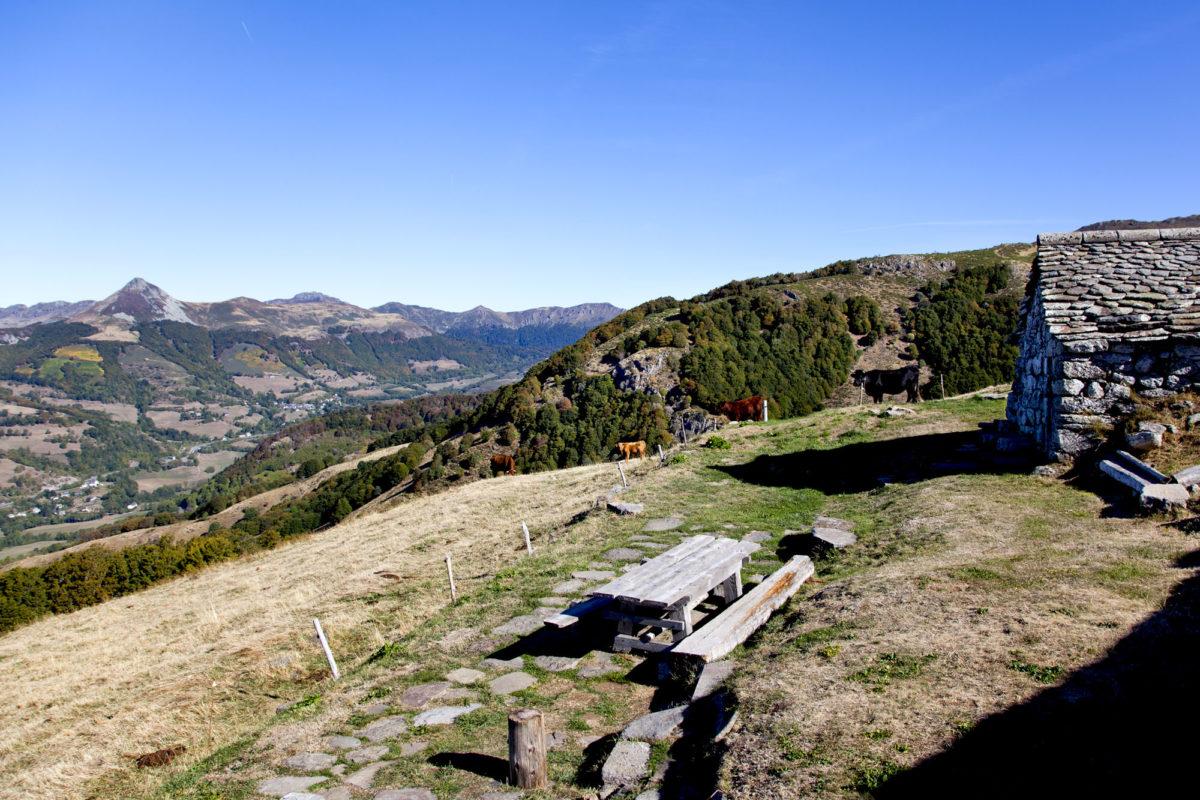 Terrasse, Buron de la Fumade Vieille, Cantal, Auvergne