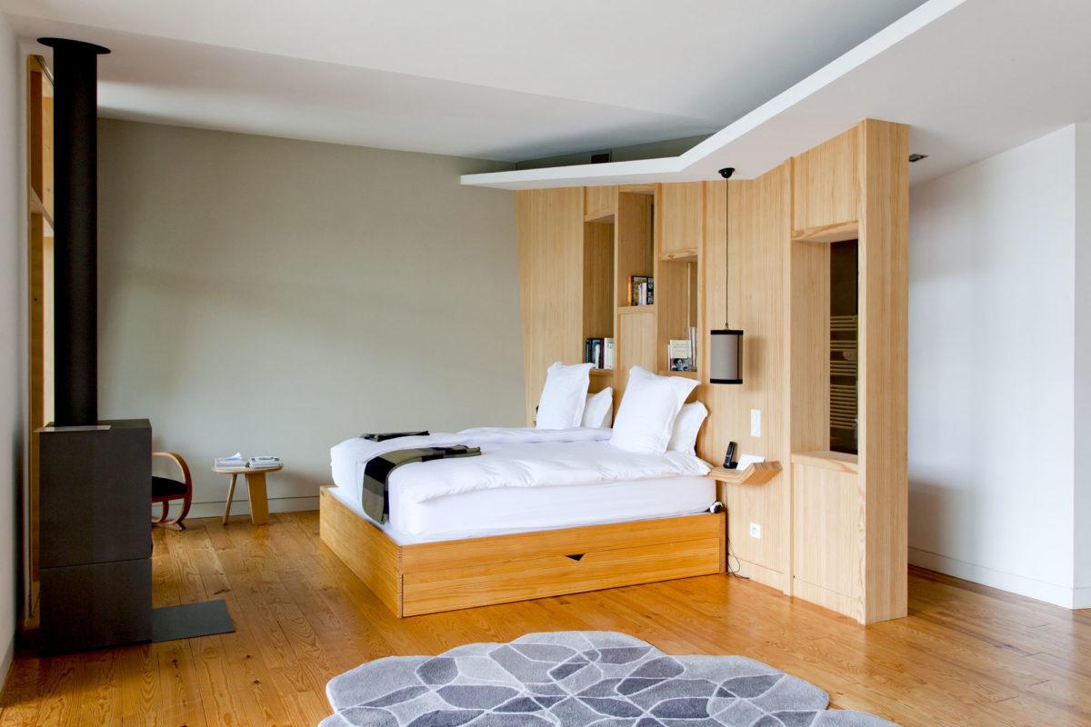 Design de la chambre du Modge, Les Echasses, Landes. © Elodie Rothan